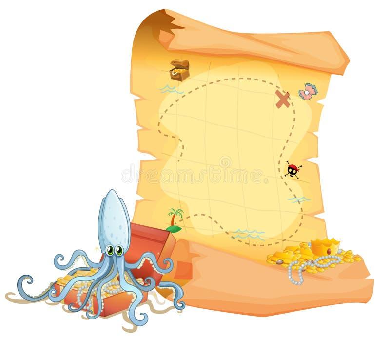Een schatkaart en een octopus boven de schatdoos vector illustratie