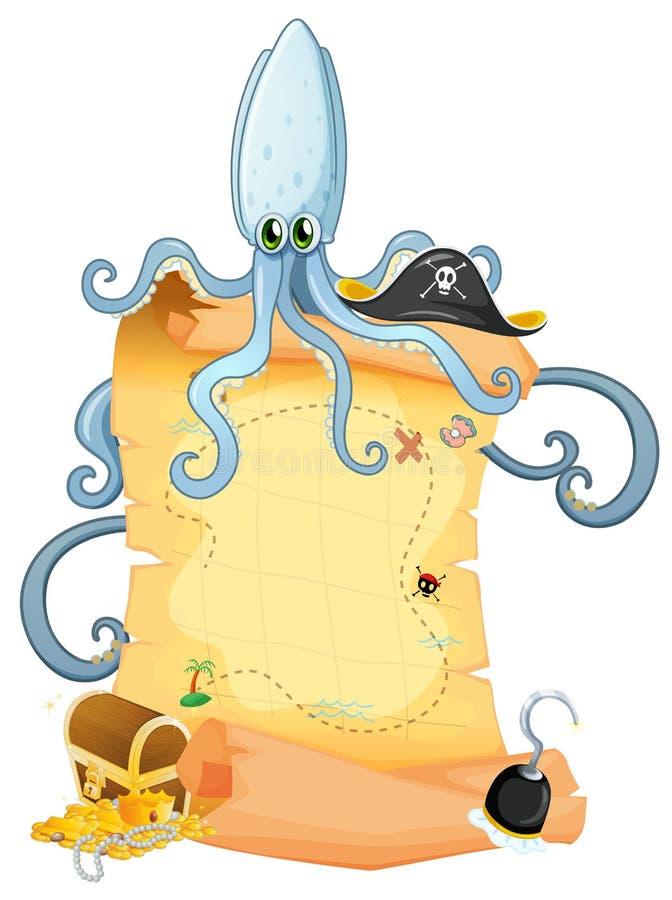 Een schatkaart met een grote octopus stock illustratie