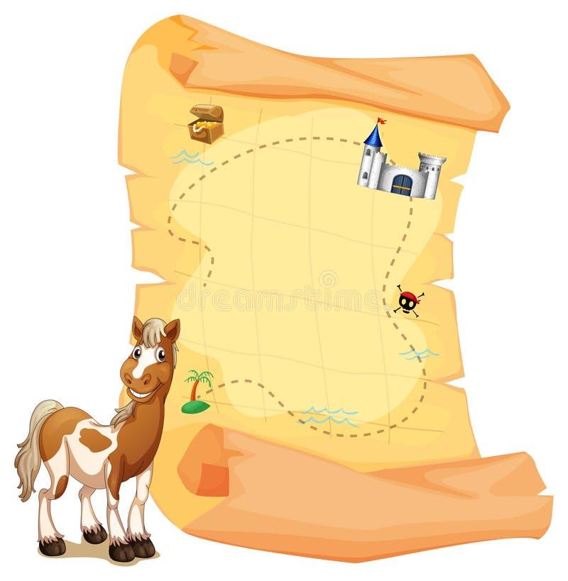 Een schatkaart naast een het glimlachen paard stock illustratie