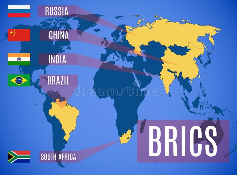 Een schematische kaart van de leden van Staten van BRICS stock illustratie