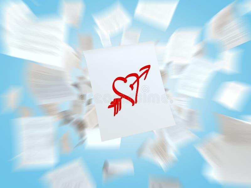 Een schets van het hart met de liefdepijl op het witte vliegende document stock afbeeldingen