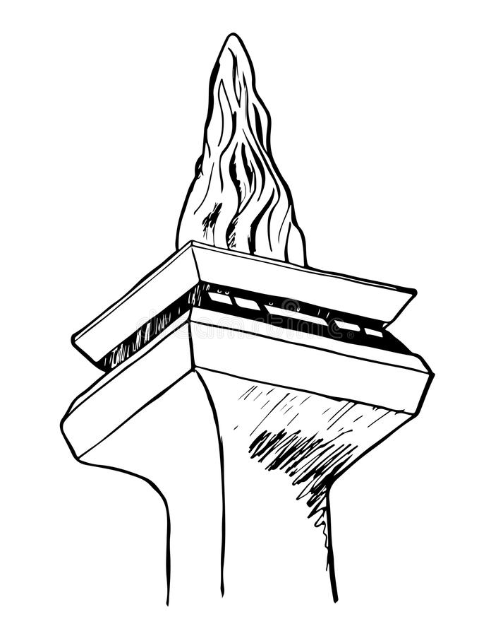 Een schets van Monumen Nasional of Monas in Djakarta, Indonesië stock illustratie