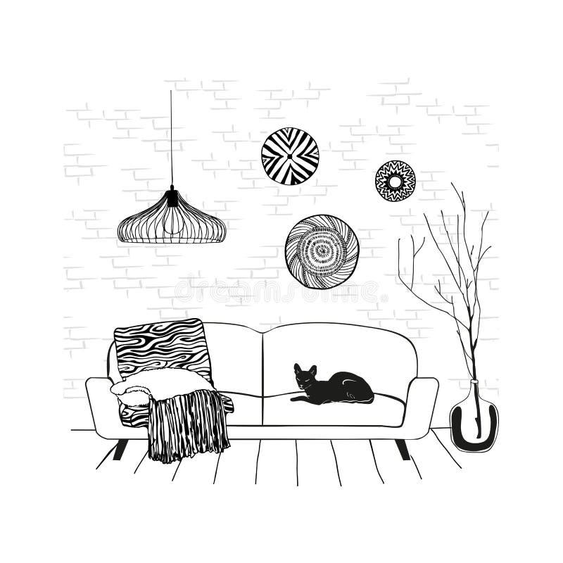 Een schetstekening van het binnenland van de ruimte, een kat op de laag, een handschets met contourlijnen Vector illustratie royalty-vrije illustratie