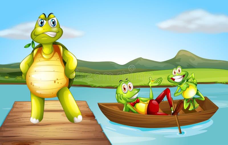 Een schildpad bij de brug en de twee speelse kikkers bij de boot vector illustratie