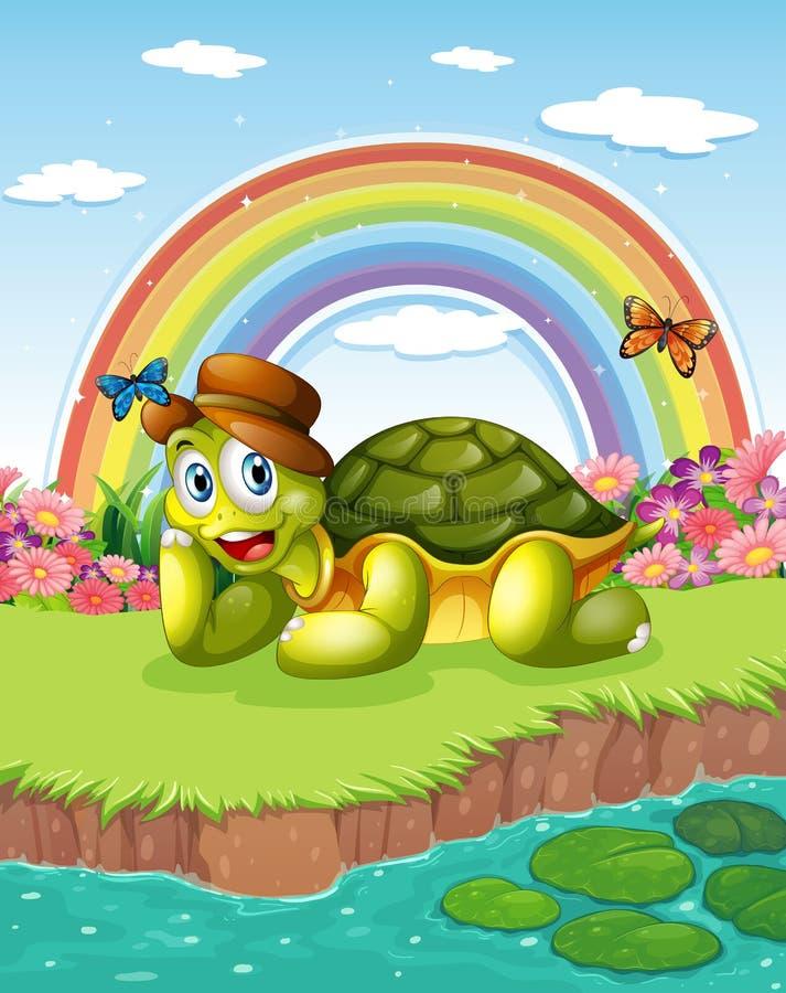Een schildpad bij de vijver met een regenboog in de hemel royalty-vrije illustratie