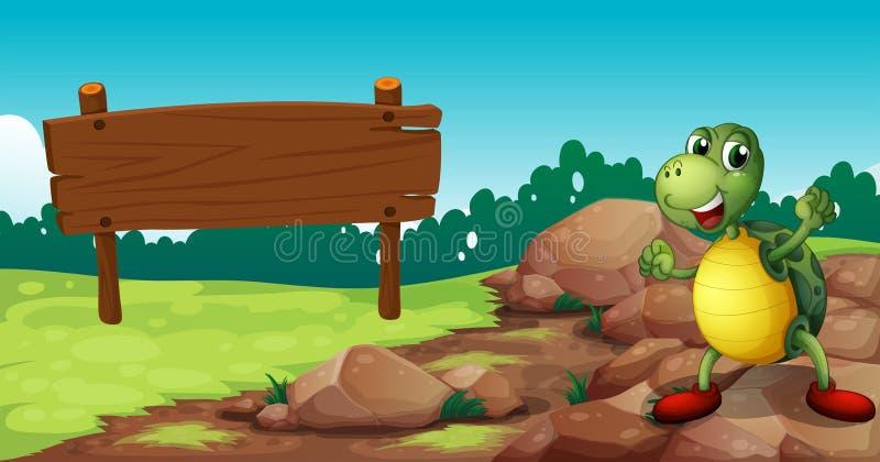 Een schildpad bij het rotsachtige gebied dichtbij een leeg uithangbord stock illustratie