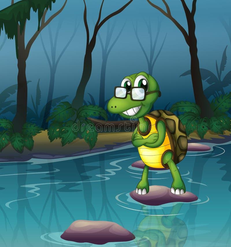 Een schildpad in de vijver stock illustratie