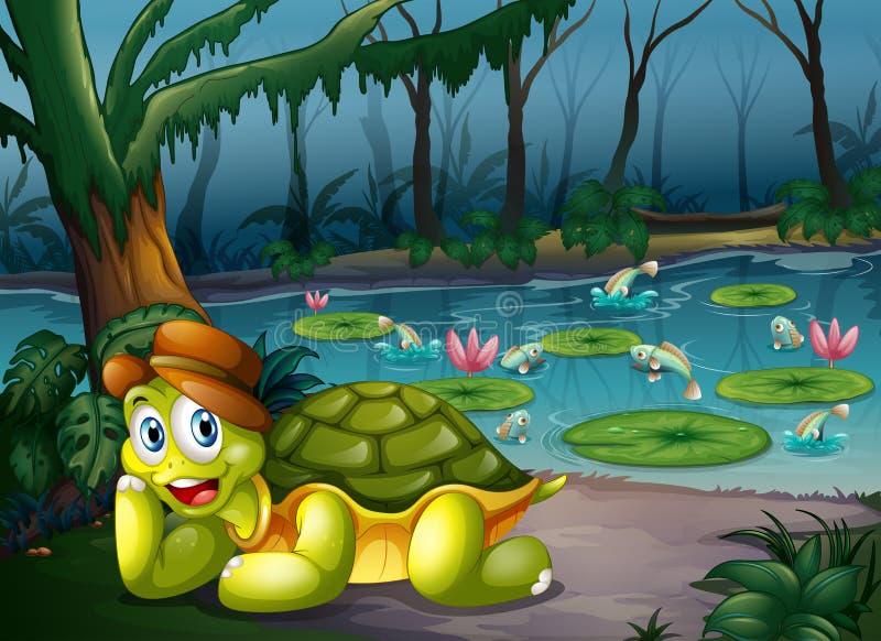 Een schildpad in het midden van het bos dichtbij de rivier royalty-vrije illustratie