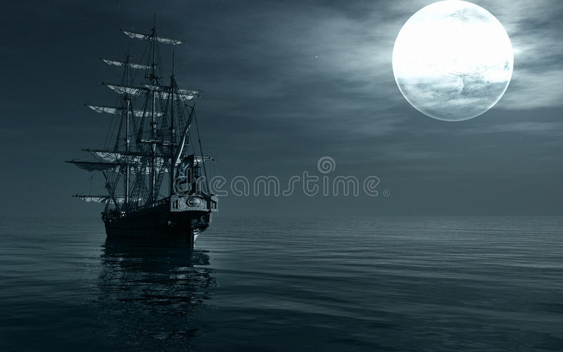 Een schip die bij nacht varen vector illustratie