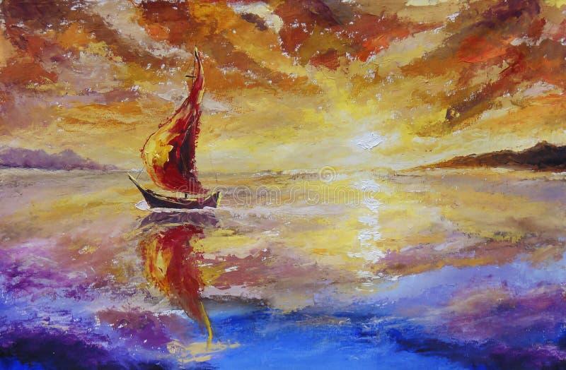 Een schip met rood zeilen origineel olieverfschilderij Mooie zonsondergang, dageraad over overzees, water Impressionisme Art vector illustratie