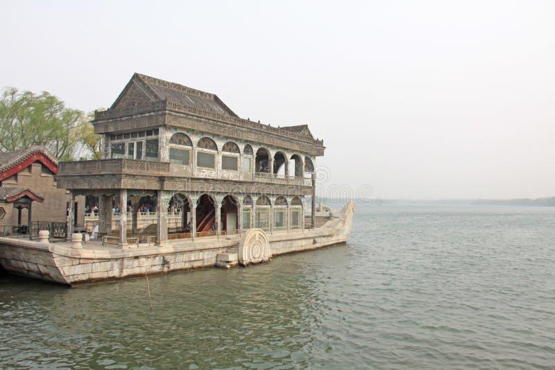 Een schip van steen wordt gemaakt die Het Paleis van de zomer, Peking, China stock fotografie