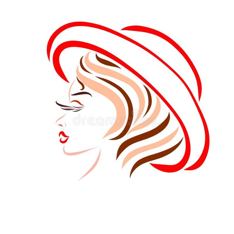Een schitterend meisje met een creatief kapsel, in een rode de zomerhoed stock illustratie