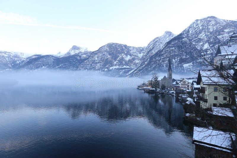 Een schitterende scène in Hallstatt, Oostenrijk stock afbeelding