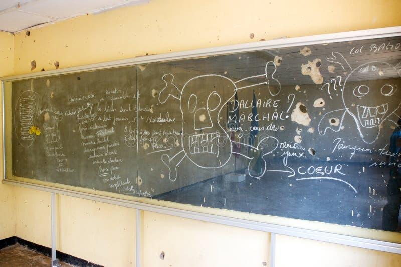 Een schoolbord in Kamp Kigali royalty-vrije stock foto's