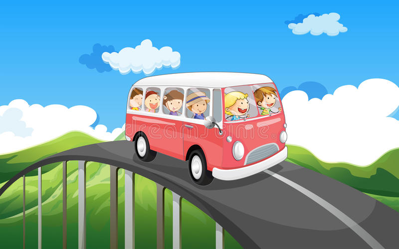 Een schoolbus met jonge geitjes het reizen stock illustratie