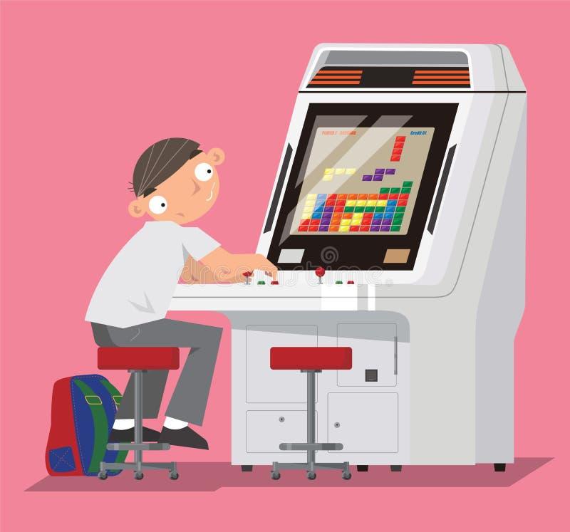 Een schooljongen het spelen videospelletje in het centrum van het arcadespel vector illustratie