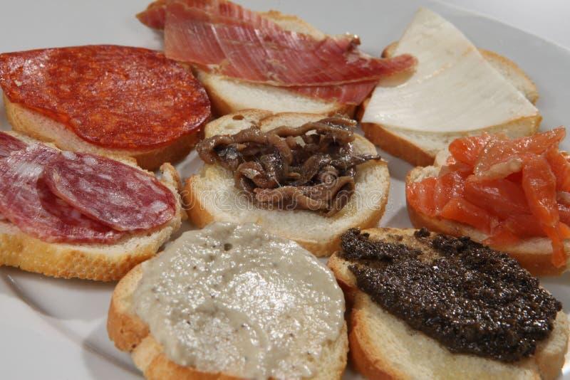 Een schot van een reeks verscheidene verschillende sandwiches royalty-vrije stock afbeelding