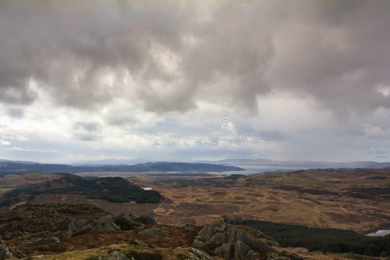 Een Schots landschap die een panorama van Argyle tonen royalty-vrije stock afbeelding