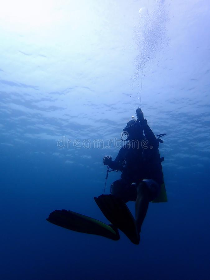 Een scuba-duiker geniet van onderwater duikt in Tunku Abdul Rahman Park, Kota Kinabalu Sabah, Maleisi? borneo royalty-vrije stock fotografie