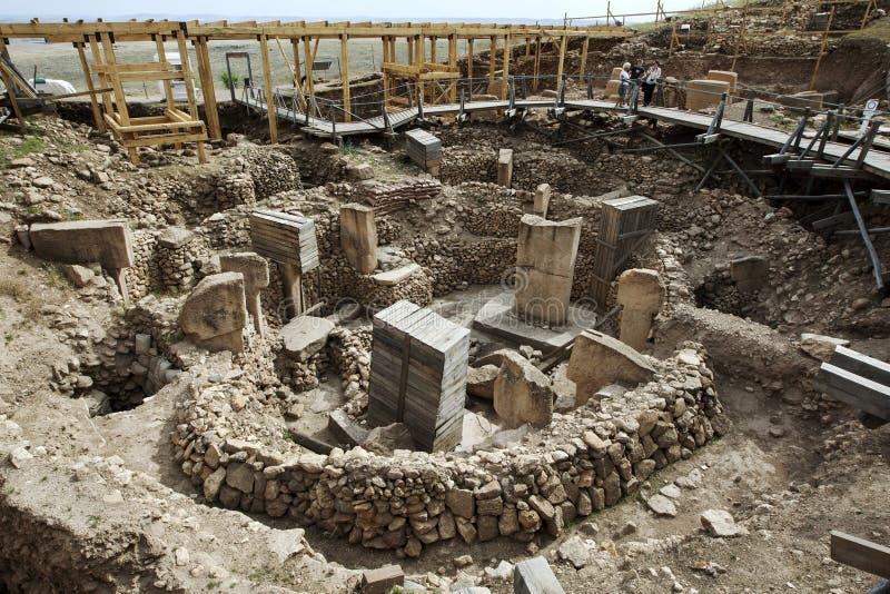 Een sectie van de tempel complex in Gobekli Tepe bepaalde de plaats van 10km van Urfa in zuidoostelijk Turkije stock fotografie