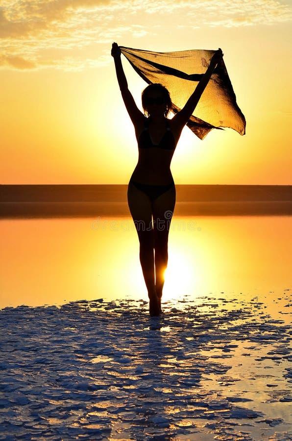 Een silhouet van een jong meisje bij zonsondergang royalty-vrije stock foto's