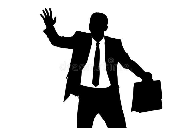 Een silhouet van een verwarde blinddoekzakenman royalty-vrije illustratie