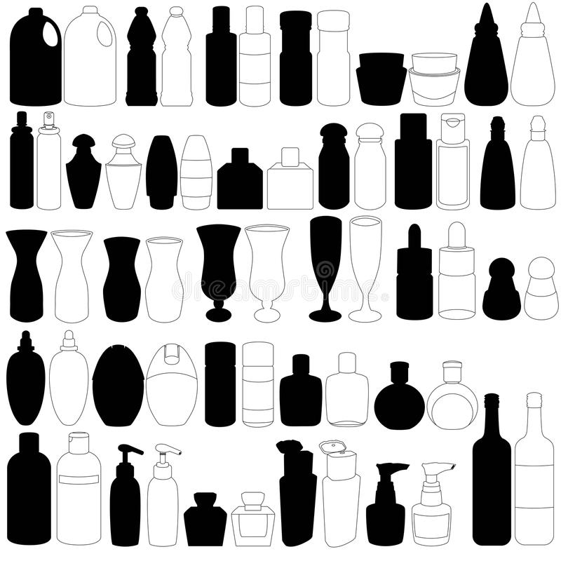 Een silhouet van fles, containers vector illustratie