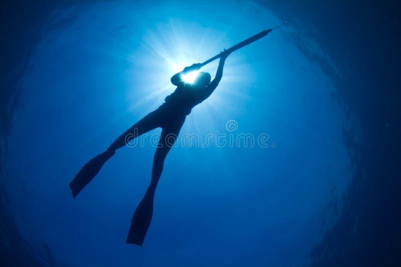 Een silhouet van het jonge vrouw spearfishing stock afbeeldingen