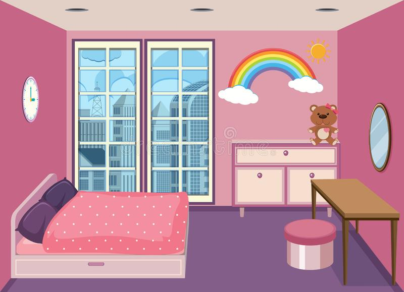 Een slaapkamer bij flatgebouw stock illustratie