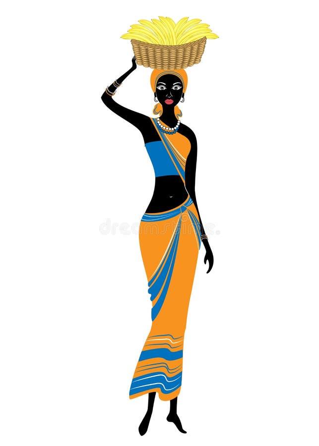 Een slanke dame Afrikaans-Amerikaan Het meisje heeft een mand op haar hoofd met bananen De vrouw is mooi en jong Vector stock illustratie