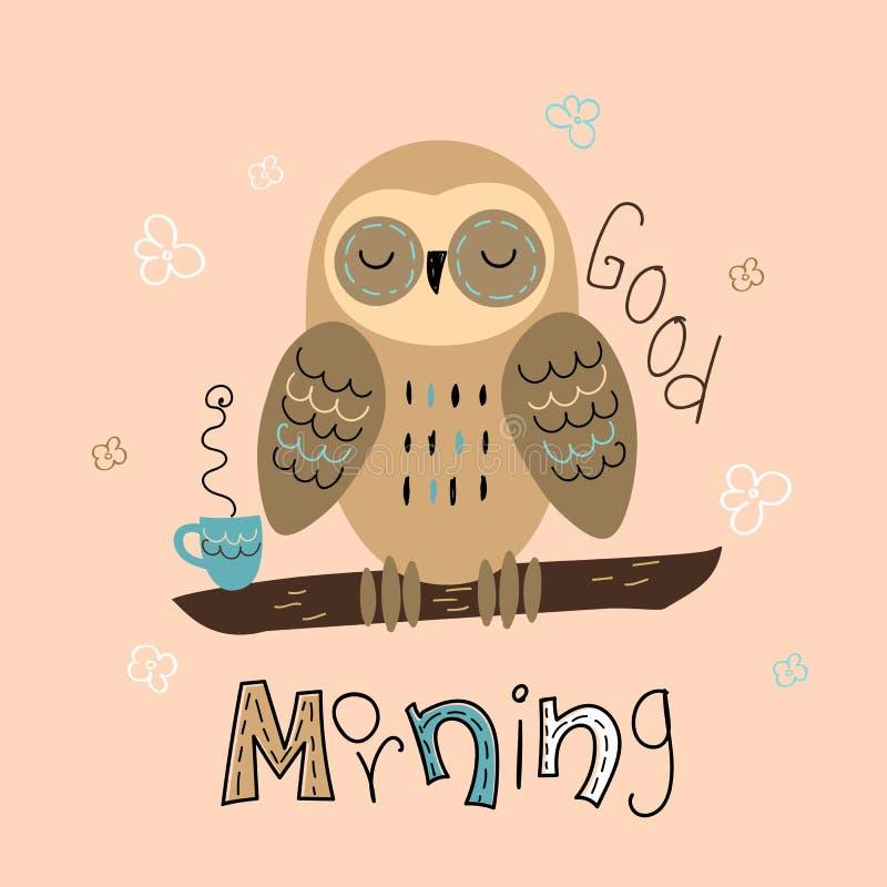 Een slaperige uil in een leuke stijl Ouderwetse ochtendsc?ne: antieke schrijfmachine, kop van verse koffie, bedrijfscontract en p royalty-vrije illustratie