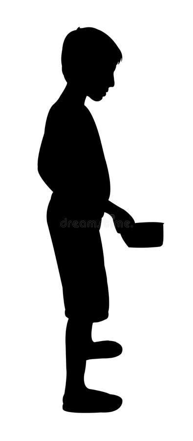 Een slechte het silhouetvector van de beggerjongen stock illustratie