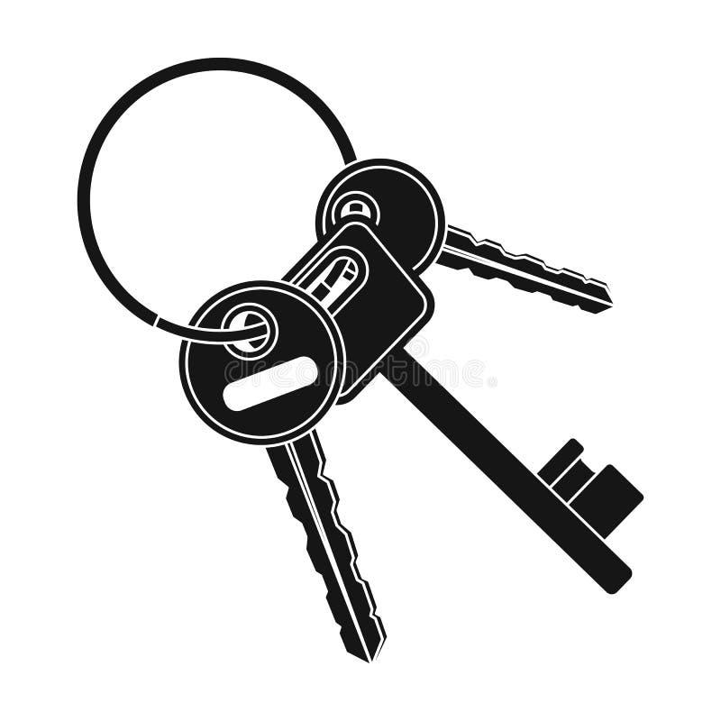 Een sleutelbos van de cellen in de gevangenis Sleutels voor openingsmisdadigers Gevangenis enig pictogram in zwart stijl vectorsy stock illustratie