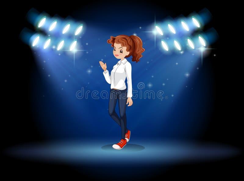 Een slim kijkend meisje in het stadium vector illustratie