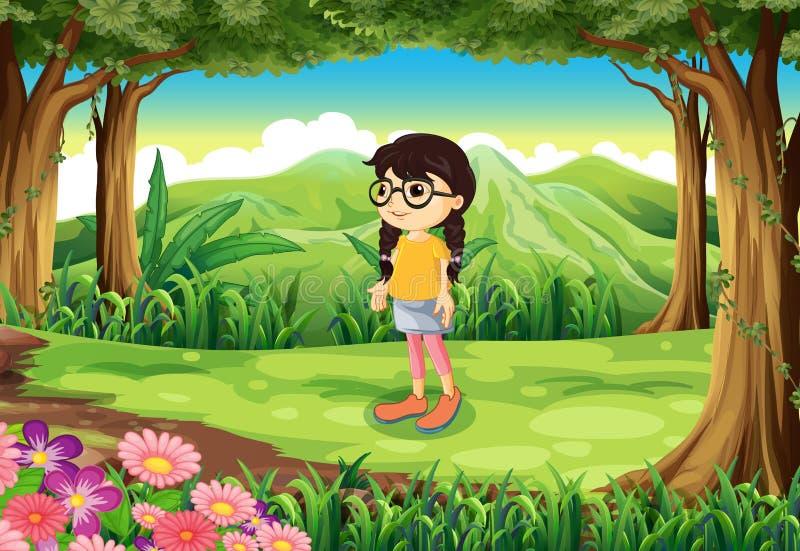 Een slim meisje bij de wildernis royalty-vrije illustratie