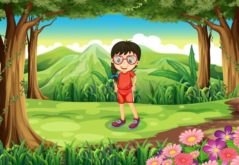Een slim meisje bij het bos royalty-vrije illustratie