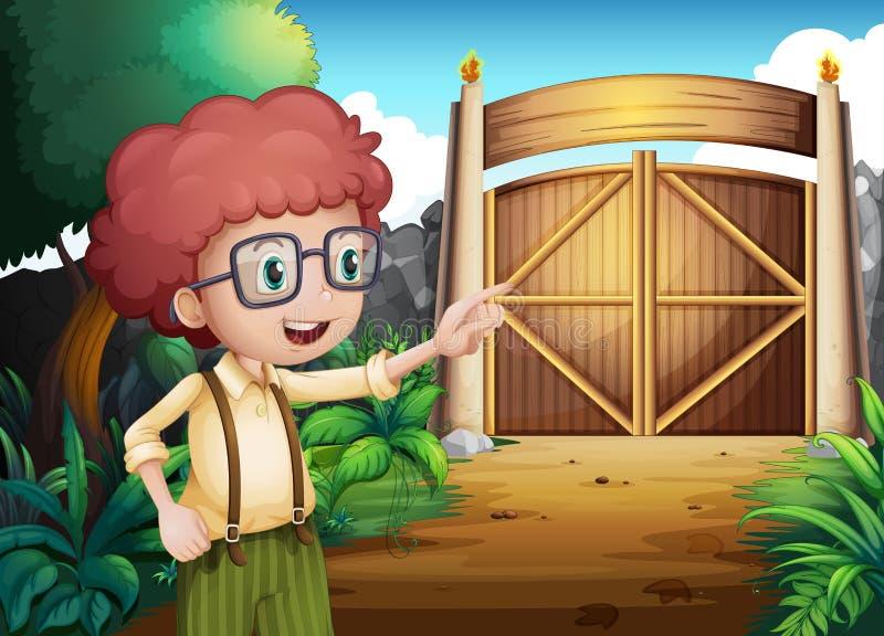 Een slimme kijkende jonge jongen binnen de poort vector illustratie