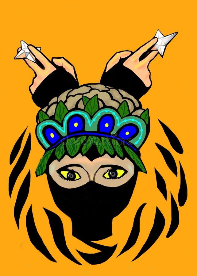 Een slimme ninja met wapen royalty-vrije illustratie