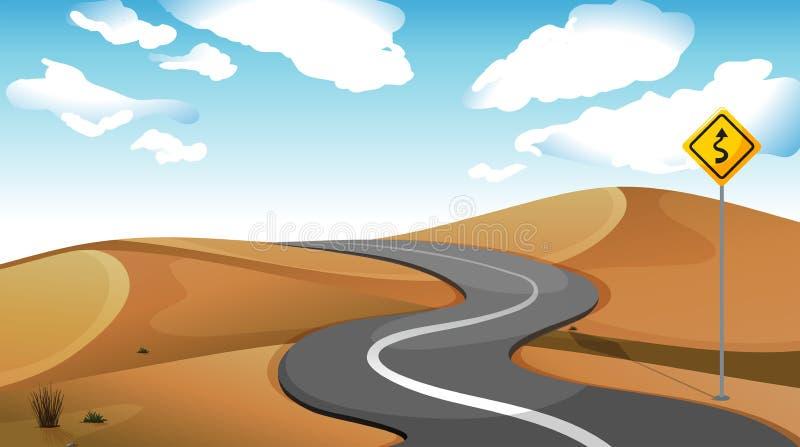 Een smalle weg bij de woestijn stock illustratie