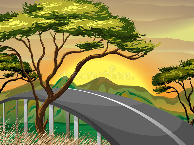 Een smalle weg dichtbij de bergen stock illustratie