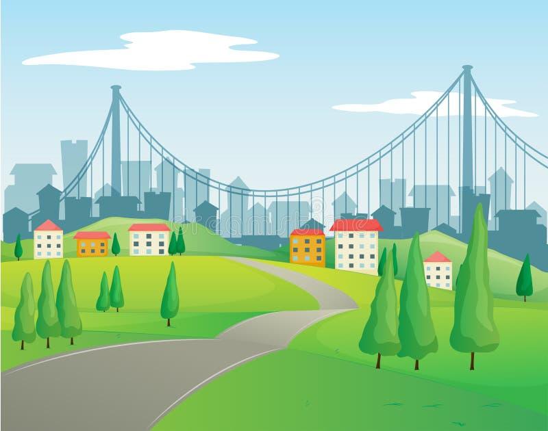 Een smalle weg die naar de gebouwen gaan vector illustratie
