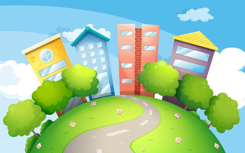 Een smalle weg die naar de lange gebouwen gaan stock illustratie