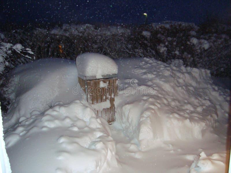 Een sneeuw stormt wat zal roepen het een blizzard is gegaan voor verscheidene uren die bijna een afvalcontainer behandelen stock afbeeldingen