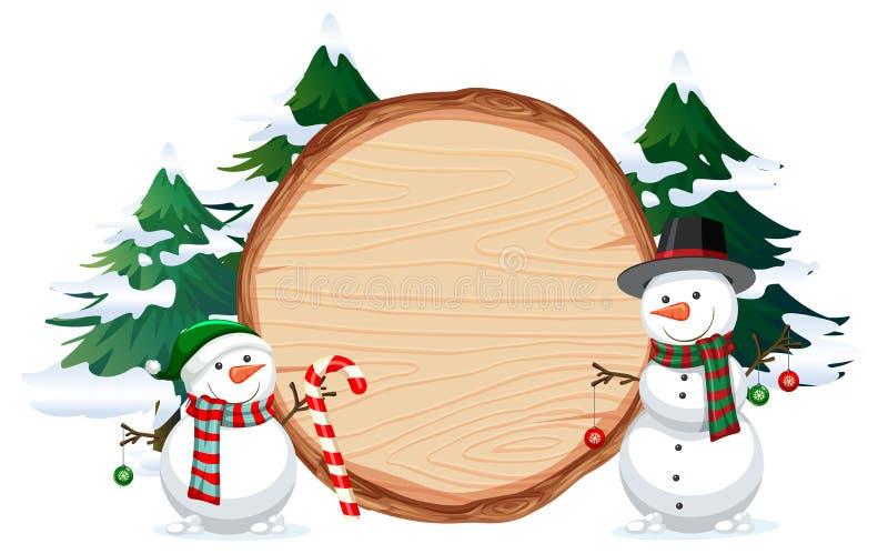 Een sneeuwman op houten banner stock illustratie