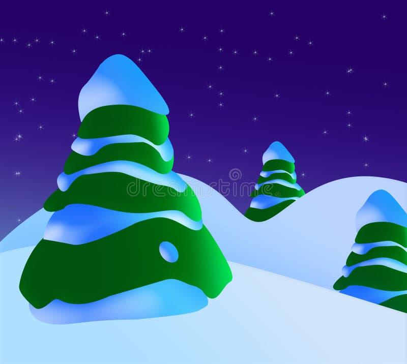 Een sneeuwScène van Kerstmis met Kerstbomen en Sterren vector illustratie