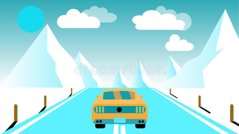 Een snelle het rennen sporten gele auto berijdt een reis aan de bergen langs de weg tegen een achtergrond van blauwe bergen, zon  royalty-vrije illustratie