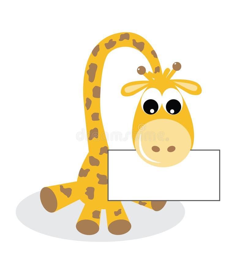 Een snoepje weinig giraf met een aanplakbiljet stock illustratie