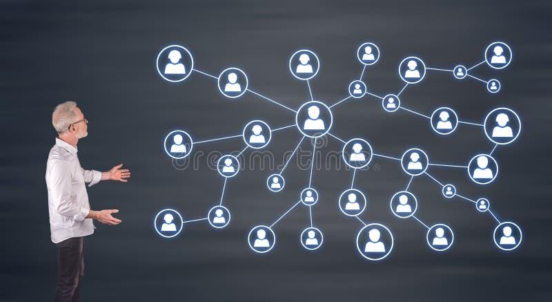 Een sociaal die media netwerk door een zakenman op het muurscherm wordt verklaard royalty-vrije stock afbeeldingen