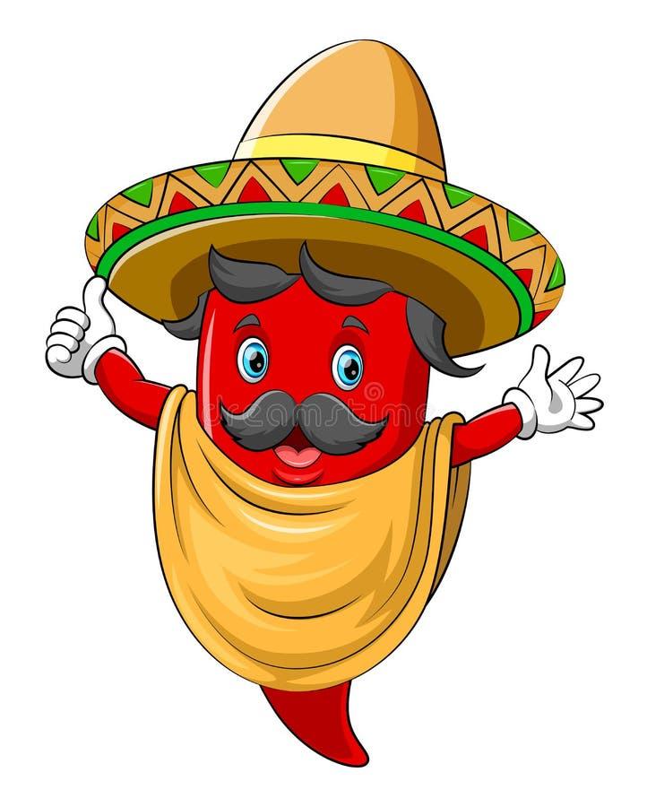 Een Spaanse peper met sombrero het dansen vector illustratie