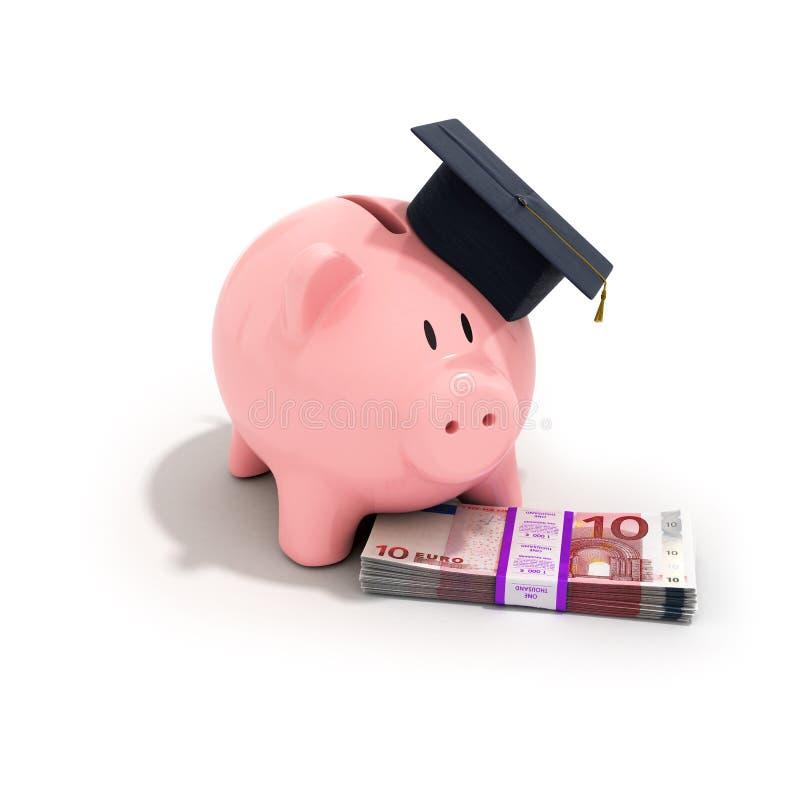 Een spaarvarken die een graduatie GLB dragen stock afbeelding